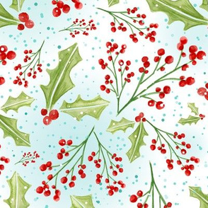 Holly Berry Watercolor - Winter White