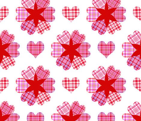 Be My Valentine Plaid Hearts fabric by snow_bird_designs on Spoonflower - custom fabric