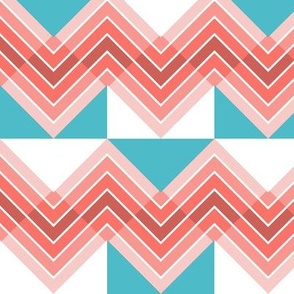 Counterchanged Coral Chevrons on Turquoise and White Checkerboard