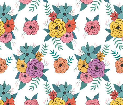 Gouache Floral fabric by charladraws on Spoonflower - custom fabric