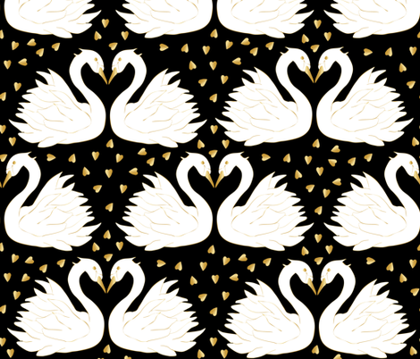 swan couple on black golden glitter fabric by inotra on Spoonflower - custom fabric