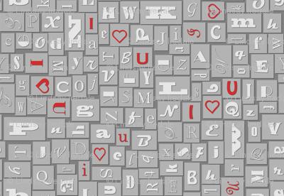 letterpress typography - dark grey with red