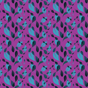 Floating Abstract Leaves Pattern - Deep Magenta