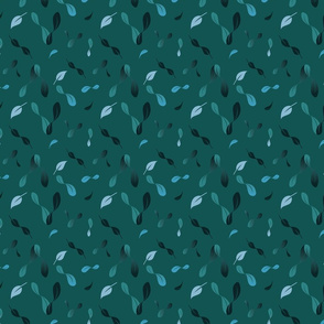 Floating Abstract Leaves Pattern - Deep Green