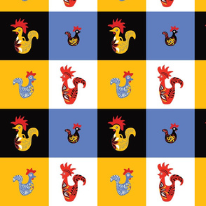 Decorative Square Rooster Pattern