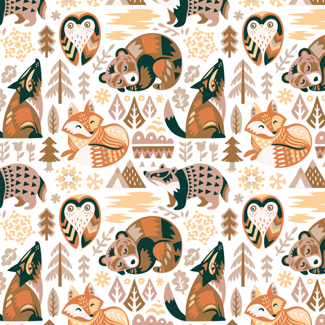 winter dreams in green and terracotta fabric by penguinhouse on Spoonflower - custom fabric