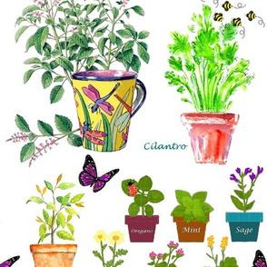 Herb Garden In Pots Pattern