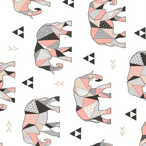 Elephants Geometric with Triangles Peach Rotated