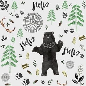 "8"" Hello Woodland bear Light Grey"