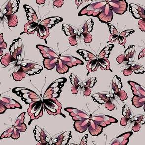 3 butterflies on pink flash