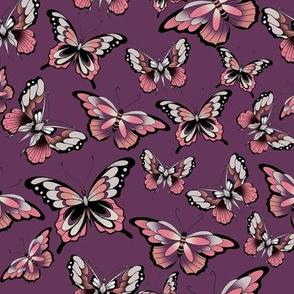 3 butterflies on purple