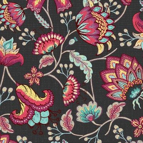 Indian Floral in Purple - DarkGray