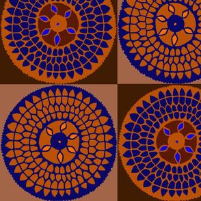 Tribal Sunflower Quilt Rust Navy