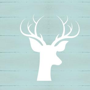 white deer silhouette on rustic wood XL 19 -harbor mist