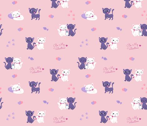 Valentine cats fabric by dominika_fasciszewska on Spoonflower - custom fabric