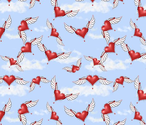 Rsoaring_hearts__sky_blue__strawberry_red__white__black__rev_cloud_shop_preview