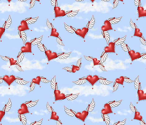 Must Be Love - Valentine Hearts, Flying Hearts fabric by dept_6 on Spoonflower - custom fabric