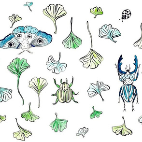 Insects and Ginkgo Leaves