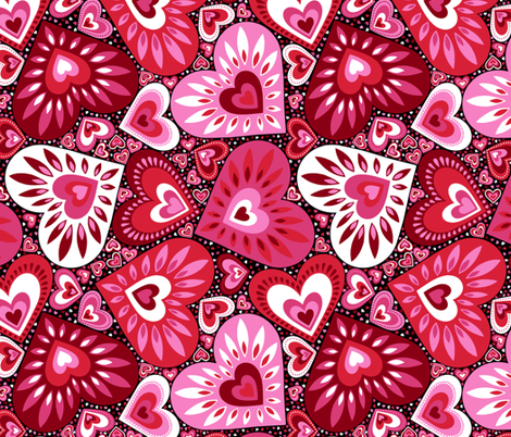 Hearts Galore fabric by willowbirdstudio on Spoonflower - custom fabric