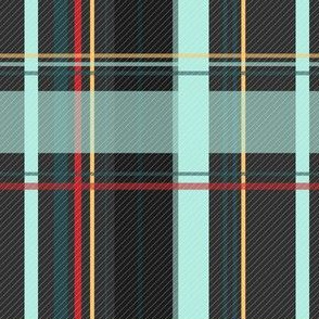 Dark Gray and Teal Plaid