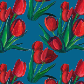 Red Tulips - Blue Background