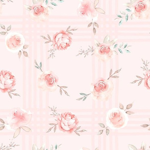 "10"" Lush  florals - on grid pink"