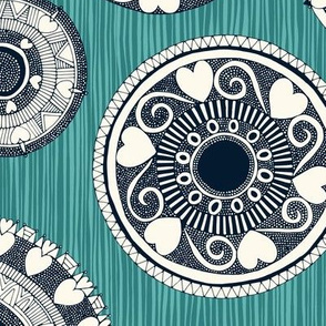 heart mandala spot teal blue stripe