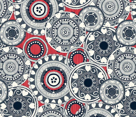 heart mandala red rouge stripe fabric by scrummy on Spoonflower - custom fabric