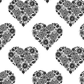 Doodle Hearts - Black & White