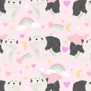 old english sheepdog unicorn pattern fabric - cute pastel unicorn fabric, dog unicorn fabric, dog unicorn pattern, unicorn fabric - pastels -  pink