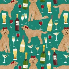 apricot golden doodle wine fabric - golden doodle dog fabric, wine fabric, dog pattern, dog breed fabric, dogs, golden doodle pattern - green