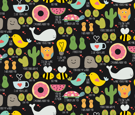My Punny Valentine fabric by jenniferlabre on Spoonflower - custom fabric