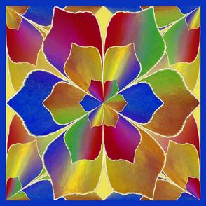 kaleidoscope lotus shape multicolors 18x18