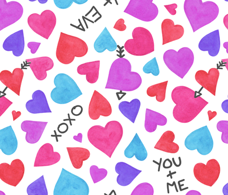 Watercolour Heart Doodle fabric by thewellingtonboot on Spoonflower - custom fabric