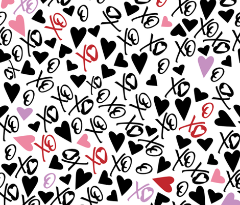 XOXO Bold Accents Valentine's fabric by mischievousdesign on Spoonflower - custom fabric