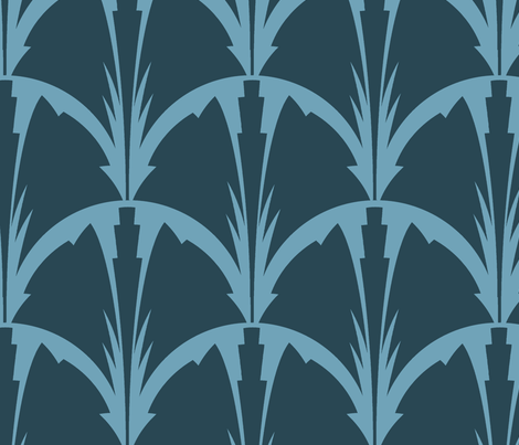 deco_bloom-blueprint_bluet fabric by wren_leyland on Spoonflower - custom fabric