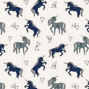unicorns // navy blue unicorn cute mini design tiny unicorns navy blue and blue-grey