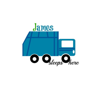 garbage truck blue -sleep here-PERSONALIZED  James
