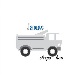 gray truck sleeps here 1896-  gray blue Personalized James