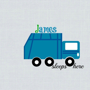 garbage truck blue on gray -sleep here-PERSONALIZED  James