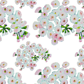 Pink Gum Blossoms - White Background