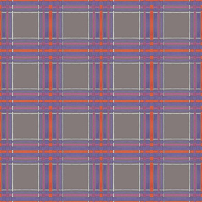 18 X 18 Purple & Orange plaid on charcoal