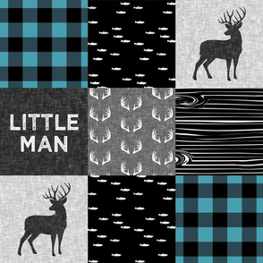 little man - light teal and black (buck) quilt woodland C18BS