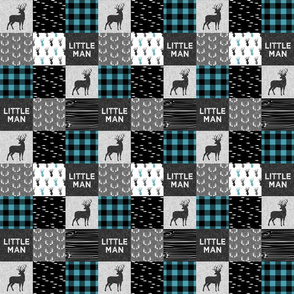 "2"" small scale - little man - light teal and black (buck) quilt woodland C18BS"