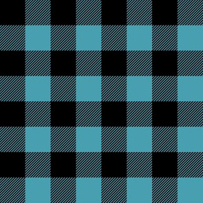 "1"" scale - light teal and black buffalo check plaid C18BS"