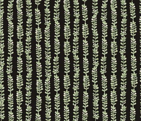 Les Petites Fleurs: Ferns – Dark fabric by caroline_wilkie_studio on Spoonflower - custom fabric
