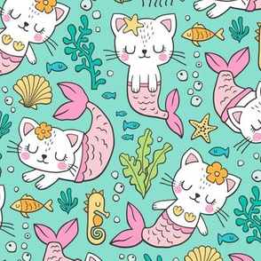 Purrmaids Cats Mermaids  Sea Doodle on Mint Green