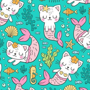 Purrmaids Cats Mermaids  Sea Doodle on Teal  Green