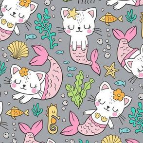 Purrmaids Cats Mermaids  Sea Doodle on Grey