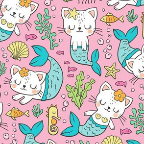 Purrmaids Cats Mermaids  Sea Doodle Blue on Pink